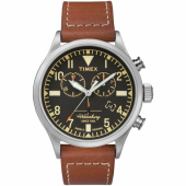 Timex x Red Wing Waterbury Traditional Chronograph 42mm Leather Strap Watch