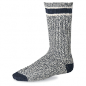 Striped Wool Ragg Crew Socks - Slate / Navy