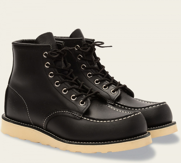 Classic Moc Style No 8130 Black Chrome Leather Red
